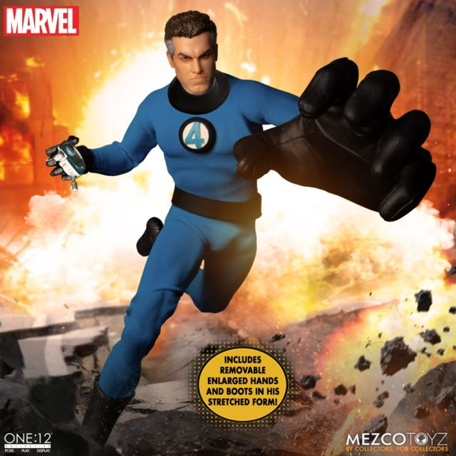 Mezco ONE12 Collective Mr Fantastic Reed Richard Figure with Stretched Parts