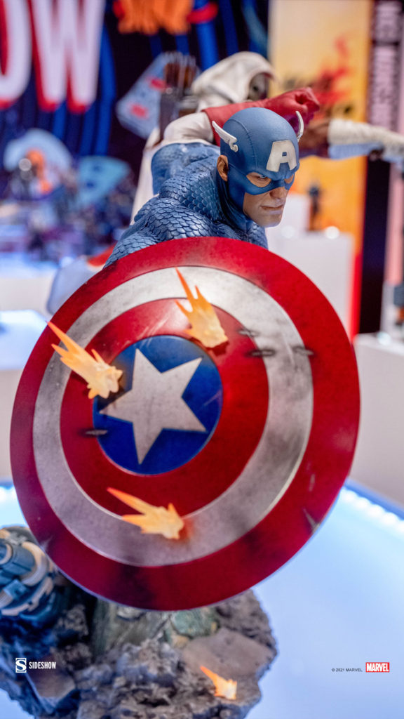 Bullets Hitting Shield on Sideshow Collectibles 2021 Captain America Statue PF