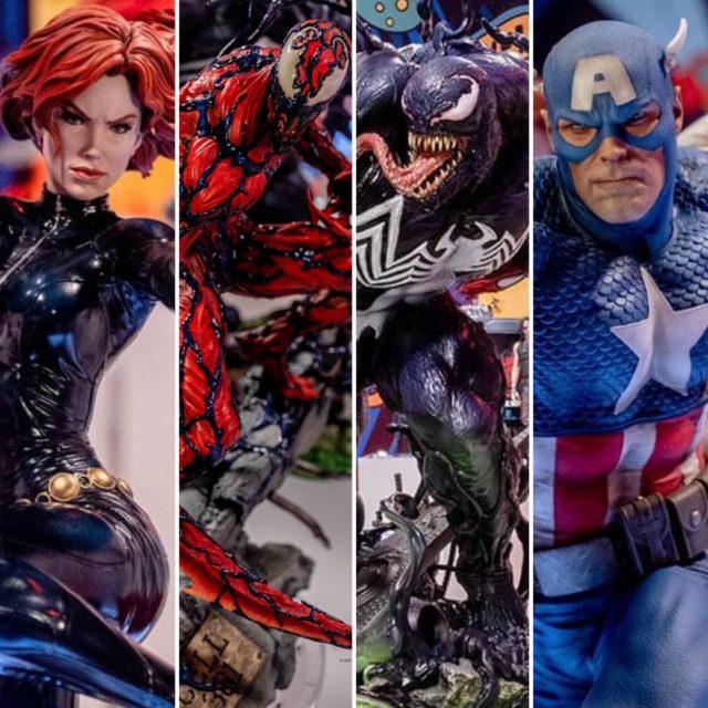 Comic Con 2021 Sideshow Premium Format Carnage Venom Black Widow Captain America Statues Revealed