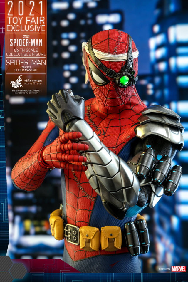 Cybernetic Arm on Hot Toys Cyborg Spider-Man Toy Fair Exclusive Figure