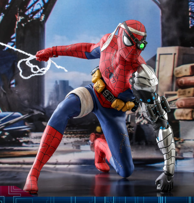 Hot Toys 2021 Toy Fair Exclusive Spider-Man Cyborg Costume Figure Punching Ground
