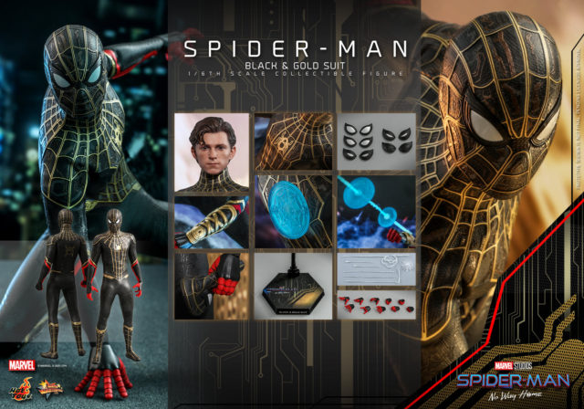 Hot Toys Black and Gold Suit Spider-Man Figure and Accessories