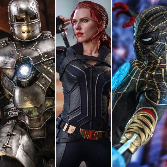 Hot Toys Diecast Iron Man Mark 1 Black Widow Black Gold Spider-Man Figures