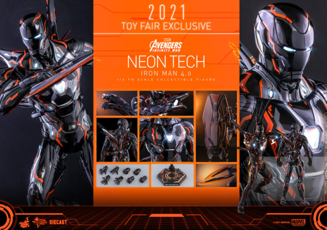 Hot Toys Neon Tech Iron Man 4.0 Exclusive Figure and Accessories