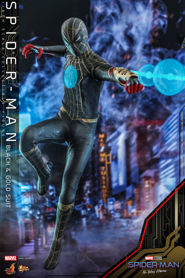 Hot Toys Spider-Man No Way Home Black Gold Suit Mystic Web Effects