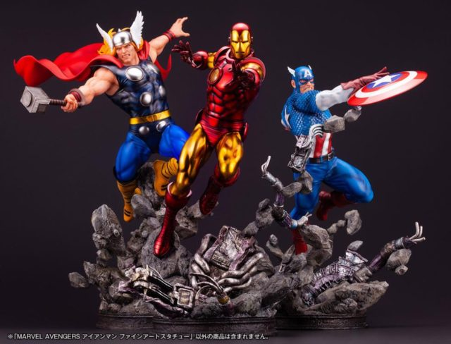 Kotobukiya Marvel Comics Avengers Fine Art Statue Set Thor Iron Man Captain America