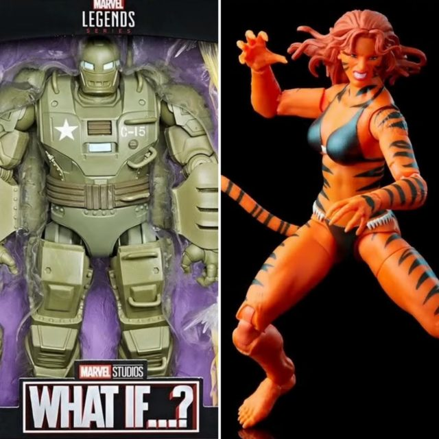 Marvel Legends Tigra Retro Figure and What If Hydra Stomper Deluxe Iron Man Armor
