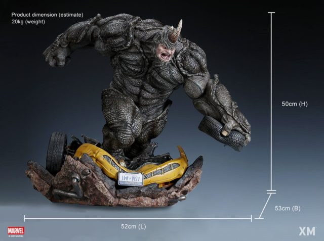 Size and Scale of Rhino XM Studios Statue