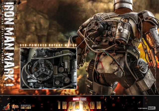 USB Powered Rotary Motor on Back of Iron Man Mark I Hot Toys Die-Cast Figure