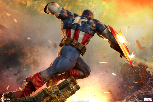 Back View of Captain America Sideshow Collectibles 2021 Statue