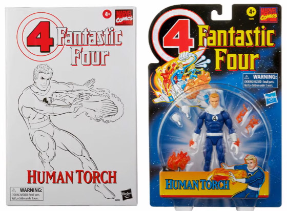 Fantastic Four Marvel Legends Retro Series Johnny Storm Human Torch Packaged Hasbro Pulse