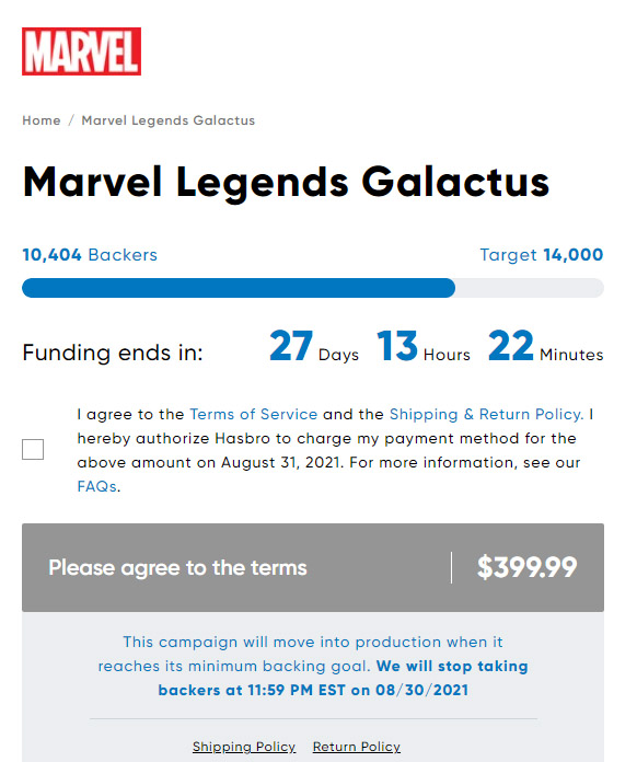 HasLab Galactus 27 Days to Go Backers Marvel Legends