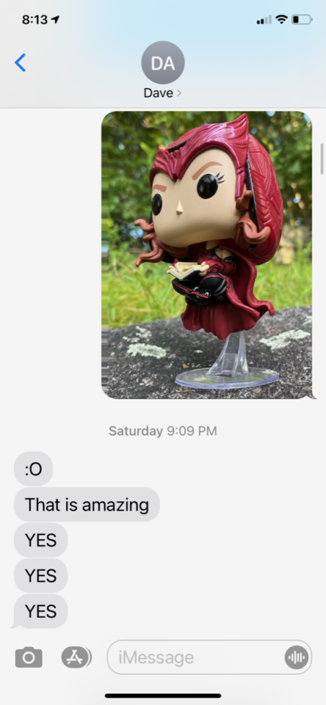 Text Message About WandaVision Scarlet Witch Darkhold POP