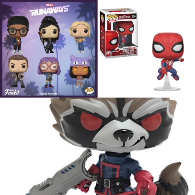 Funko Pop Runaways Ps4 Spider Man Amp Comic Rocket Raccoon