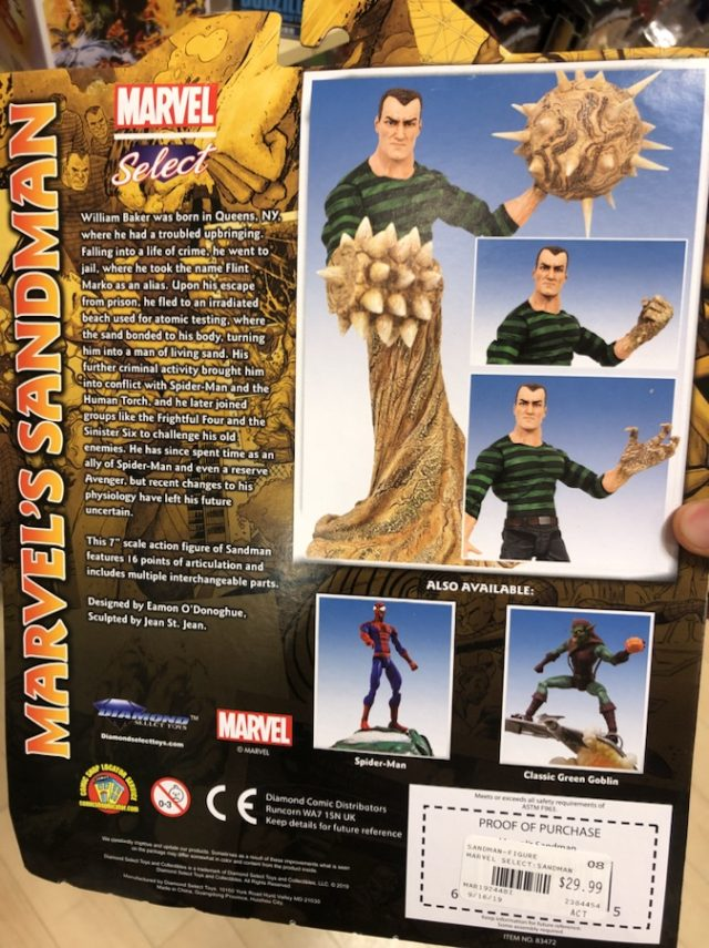 Cardback Marvel Select Sandman Back of Box
