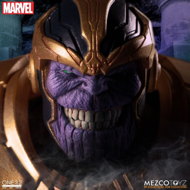 Close-Up of Evil Grinning Thanos Mezco Toyz Figure Head