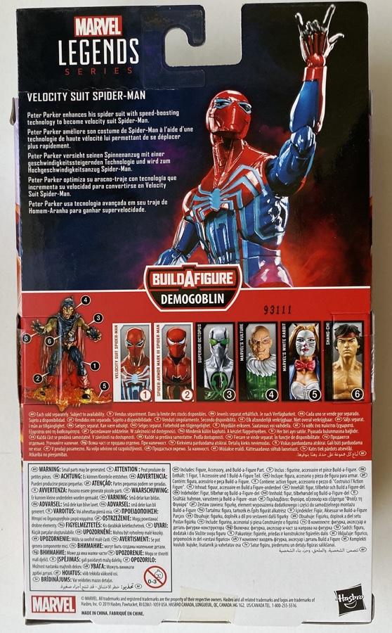 Box Back Hasbro Velocity Suit Spider-Man Legends Figure 2020