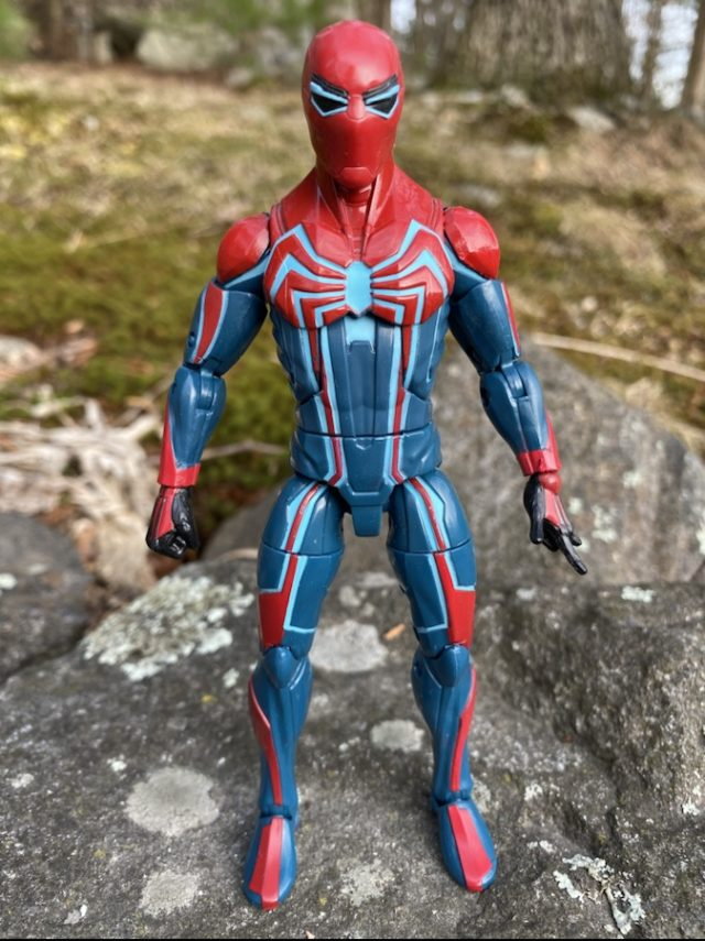Spider-Man Marvel Legends Velocity Suit Six Inch Figure Front of Costume