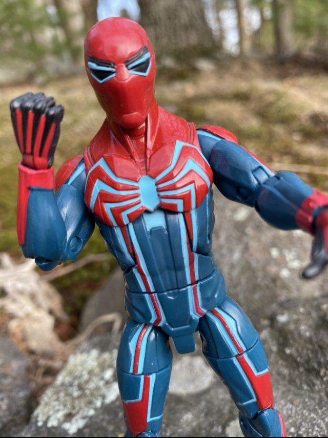 Close-Up of Spider-Man Legends Velocity Suit Action Figure Demogoblin Series